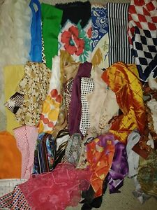 Vintage Mid Century Fancy Ladies Scarves Silk Acetate Italy USA Japan lot of 30