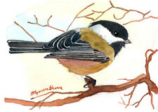 """ACEO Limited Edition 2.5""""x3.5""""- Winter chickadee, Small gift idea"""