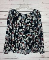 Cupcakes and Cashmere Women's S Small Black Floral Long Sleeve Spring Top Blouse