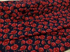 NEW POPPIES ++ NAVY ++ COTTON PRINT FABRIC by ROSE & HUBBLE