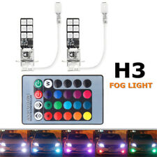 2x H3 5050 RGB LED 12SMD Auto Car Fog Light Headlight Lamp Bulb + Remote Control