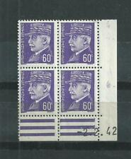 FRANCE  LUXE  N° 509   BLOC  DE 4  COIN  DATE  2/2/42  TYPE  PETAIN  NEUFS **
