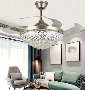 Modern Invisible Ceiling Fans with Light Crystal Remote Control Chandelier 42""