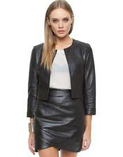 WHITE SUEDE chocolate brown cropped leather button jacket 6 8 RRP$359