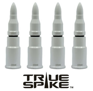 4 TRUE SPIKE WHITE BULLET WHEEL RIM AIR VALVE STEM COVER CAP FOR GMC SIERRA B