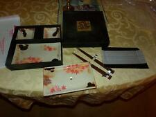 VNTG. MYIA JAPAN SUSHI SET W/ SAUCE BOWLS IN ORG. BOX WOODED CHOP STICKS