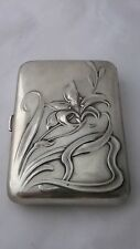 Antique Art Nouveau Silver Cigarette Case .800 Floral Repousse Jugendstil Box EX