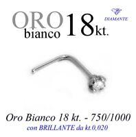 Piercing naso nose ORO BIANCO 18kt. griff BRILLANTE kt.0,020 white GOLD DIAMOND