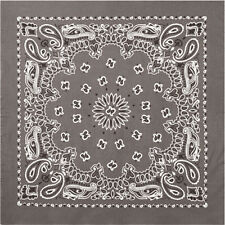 "Grey Trainmen Cotton Paisley Biker Sport Bandana 22"" x 22"""