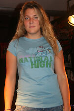 Mighty Fine Large $31 Blue I'm On A Natural High Hello Kitty LG Juniors T Shirt