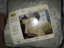 King 7 Pc. Comforter Gray Shams Bedskirt Pillows Blanket Flowers New!