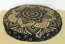 Indian Gold Ombre Mandala Cotton Cushion Cover Round Floor Pouf Pillow Case Yoga
