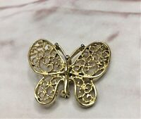 Vintage Signed Trifari Butterfly Pin Brooch Gold Tone Filigree Wings Retro