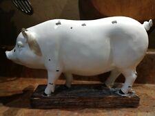 New Country Farmhouse PIG STATUE Resin Figure White Enamel