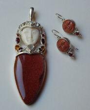 Sajen Goddess Pendant GoldStone Sterling Silver Pendant Sajen Earrings Set