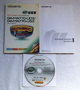 AMD Gigabyte GA-MA770 Motherboard Utility DVD User Manual & Installation Books