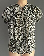 LIZ JORDAN Sheer Black & White Leopard Print Top Size 16 - So Stylish