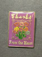 Thanks From the Heart Flowers Smooth Epoxy Coat Rectangular Lapel Tack Pin