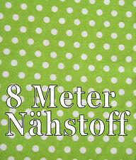 8 Metros Verde Tela blancos Puntos Decoración 40x800 cm nähstoff Tela Para Niños