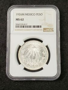 1926 M Mexico Silver 1 One Peso Coin NGC Graded MS62 Uncirculated