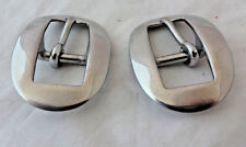 """Pair Long Oval Cart Buckles Horse Headstall Stainless Steel 5/8"""" Weaver Leather"""