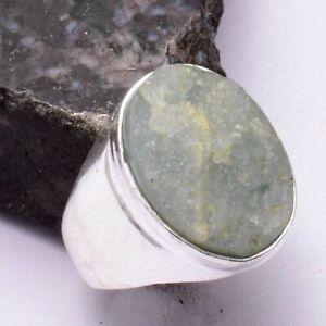 Aquamarine Rough Ethnic Handmade Men's Ring Jewelry US Size-8.5 AR 45296