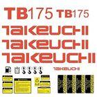 TB175 Decals Takeuchi TB175 Stickers Mini Midi Excavator Repro Decal Set Kit