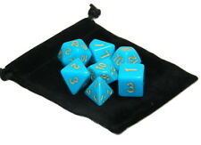 Wiz Dice 7 Die Polyhedral Set Sky Stone Opaque Teal With Dice Bag