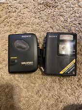 Sony Wm-Ex102 Walkman Cassette Player w/Belt Clip & Sony Tcm-s64v Untested