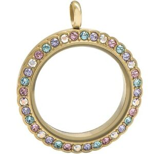 Origami Owl Large Gold Scallop Twist Locket  w Multi Color Crystals