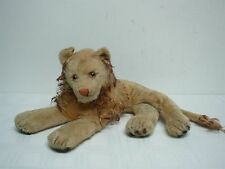 "VINTAGE STEIFF LAYING DOWN LEO THE LION ~ 8"" HIGH x 19"" WIDE ~ WELL LOVED!"