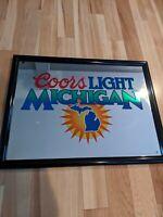 Rare Coors Light 26x20 Beer Sign Mirror Michigan Bar Advertisement