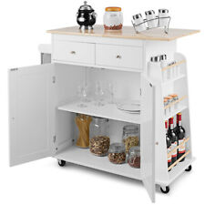 Rolling Kitchen Island Utility Trolley Cabinet Spice Towel Rack White