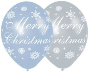 6 x assorted blue & silver Pretty Christmas Snowflake Balloons Party Decorations