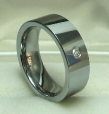 MEN 8mm TUNGSTEN CARBIDE comfort fit ring with 1 White CZ stone size 9