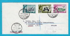 GILBERT & ELLICE ISLANDS R cover 1960 Ocean Islands to England phosphate