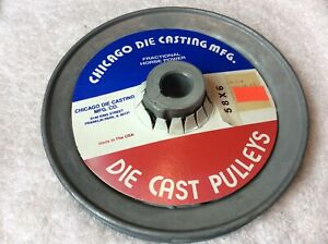 """Chicago  600-A Die Cast Pulley 6"""" Diameter dia 1/2"""" Bore   V belt  spoked"""