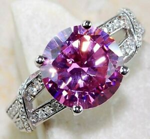 3CT Pink Sapphire & White Topaz 925 Solid Sterling Silver Ring Jewelry Sz 8, M4