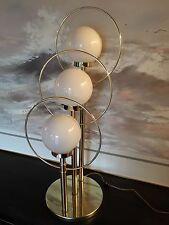 MID CENTURY MODERN 3 GLOBE HALO BRASS TABLE LAMP HOLLYWOOD REGENCY