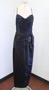Vtg 80s 90s Black Sequin Iridescent Party Prom Formal Dress Sz 12 Retro Costume