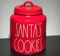 Rae Dunn SANTA'S COOKIES  Red Medium COOKIE CANISTER