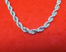 """MENS 30"""" 14KT WHITE GOLD EP 7MM ROPE HIP HOP BLING CHAIN NECKLACE"""