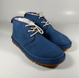 UGG Neumel Natural Canvas Ankle Boots Indigo Blue Men's Sz 10 *NEW* 1117613