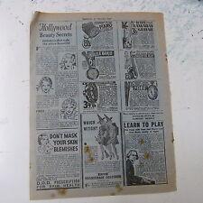 vintage advertise HOLLYWOOD BEAUTY SECRETS, Tokalon Ltd , 1930s
