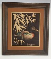 """VTG Wood Framed Matted MALLARD Duck Quilted """"Painting"""" Needlework"""