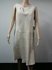 NEW - Anne Klein - Sleeveless Belted Folded Neck Dress - Size 12 - Beige $129