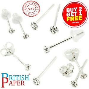 925 STERLING SILVER STRAIGHT NOSE STUD SOLID CZ EARRING BAR PIN CLAW l SHAPE SET