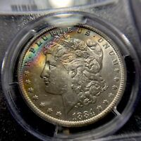 1884 O Morgan Silver Dollar PCGS MS62 CAC Star Monster Rainbow Toned Color S$1