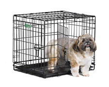 """Dog Crate   MidWest iCrate 24"""" Double Door Folding Metal Dog Crate w/ Divider &"""