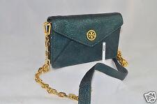 NWT Tory Burch Brittany Green Metallic Envelope Crossbody Purse Handbag 41139103